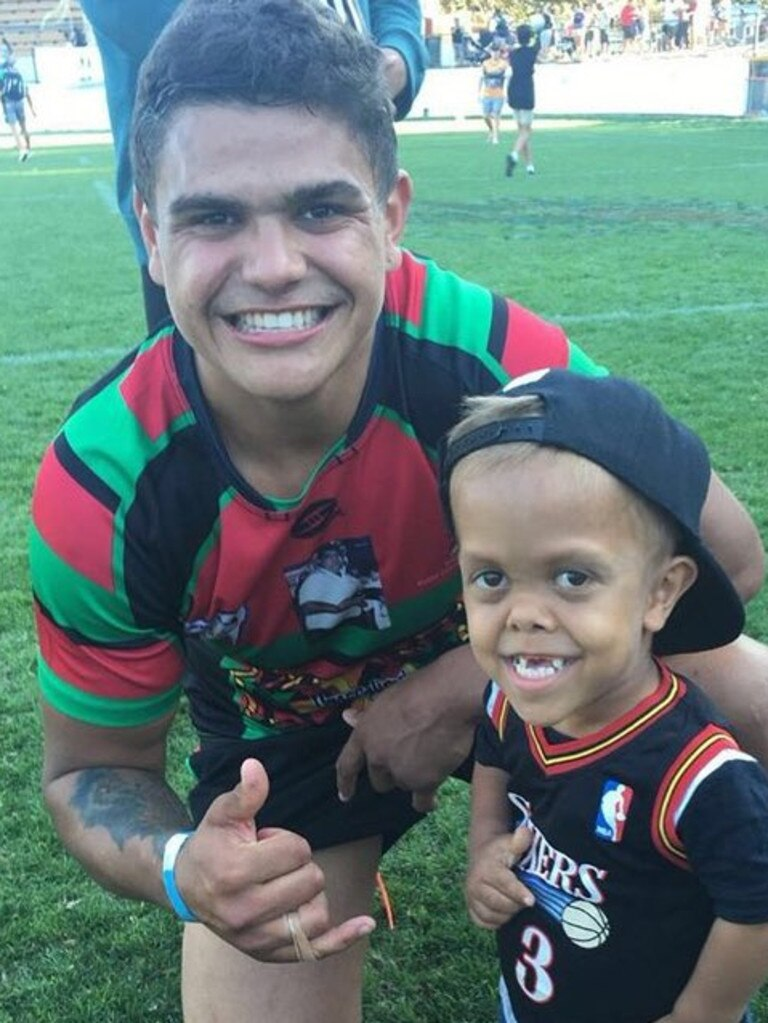 Latrell Mitchell with Quaden Bayles. The youngster has been embraced by indigenous NRL players.