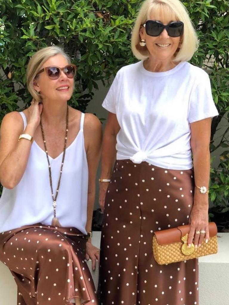 Bloggers Linda and Leanne of thiswiththis showed how well the skirt worked as a snappy lunch outfit. Picture: Instagram/thiswiththis