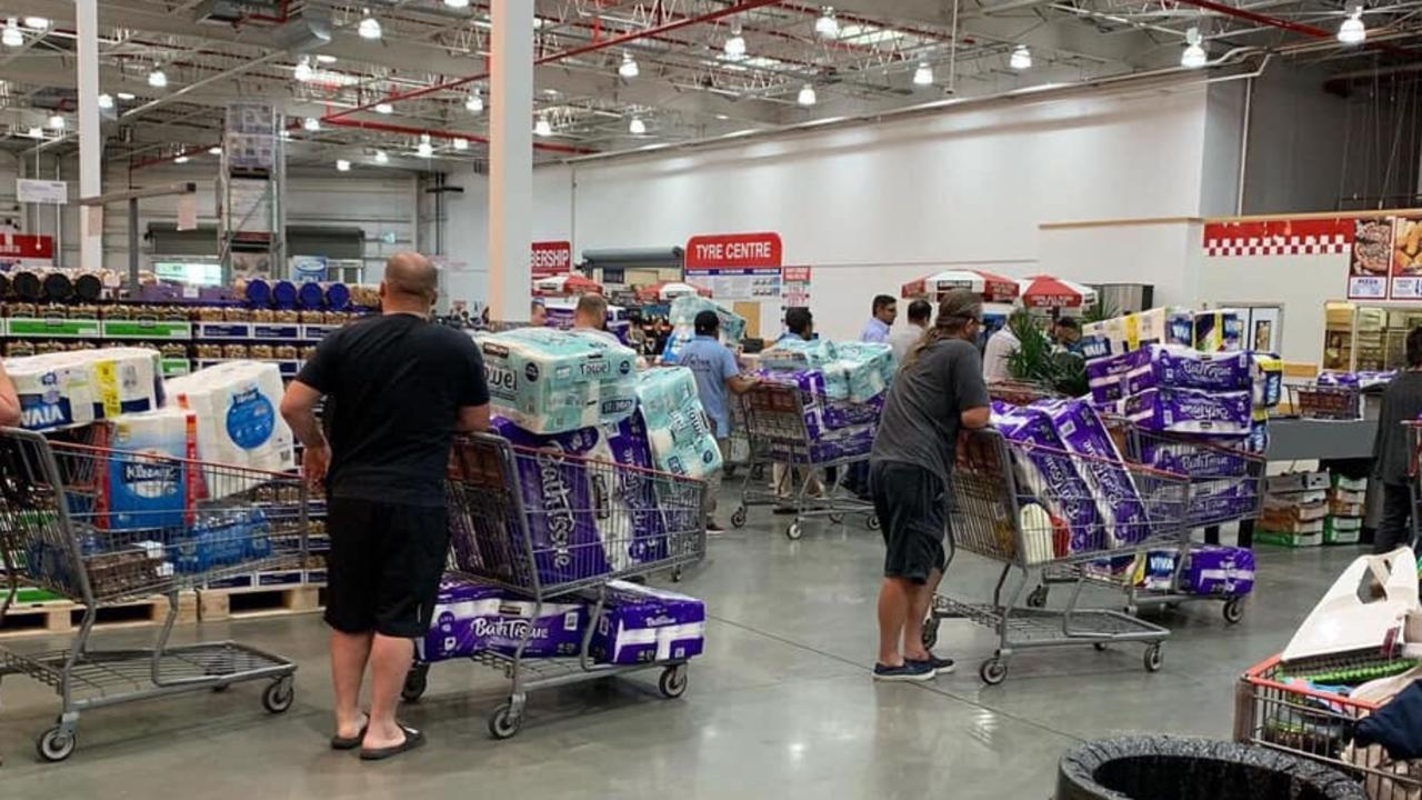 Costco stores in Auburn, NSW, and Canberra, completely sold out of toilet paper on Tuesday. Picture: Facebook/Sandra Hadley