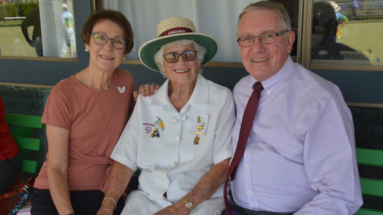 Marion Campbell and Keith Campbell with Bess Thorp at her 100th birthday celebrations on February 11. Photo: Jessica McGrath.