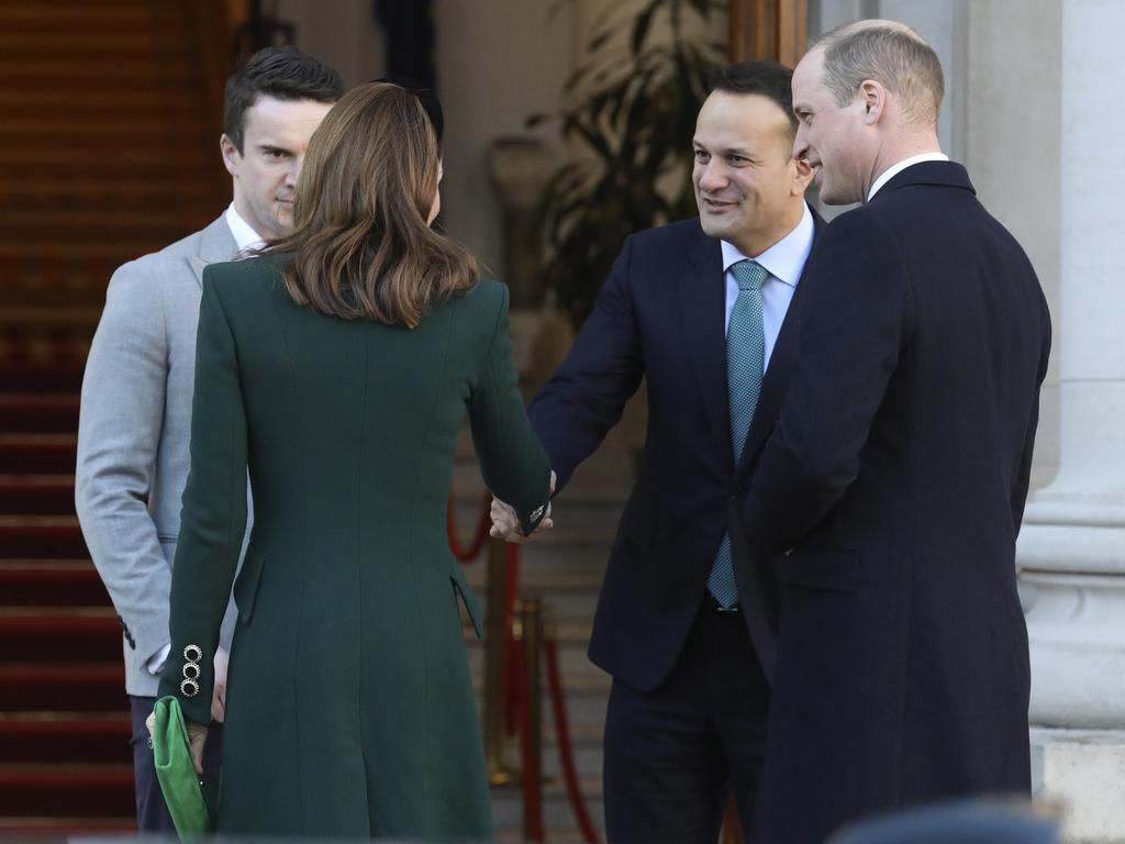Prince William and Kate went gloveless as they shook hands with Irish Prime Minister Leo Varadkar and his partner Matthew Barrett, in Dublin. Picture: AP