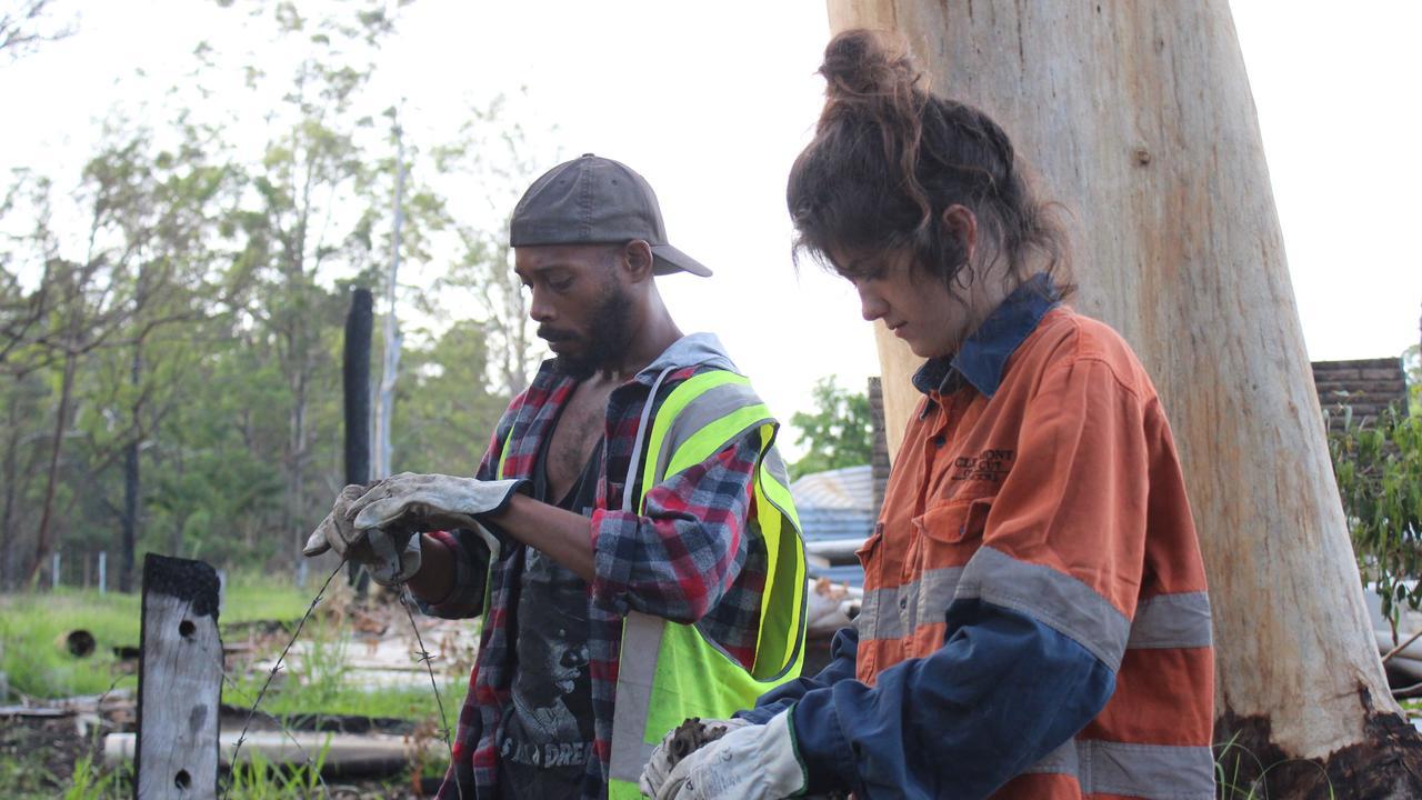Hannah Jackson and Kristian Fernandez-Brown working in Nana Glen.