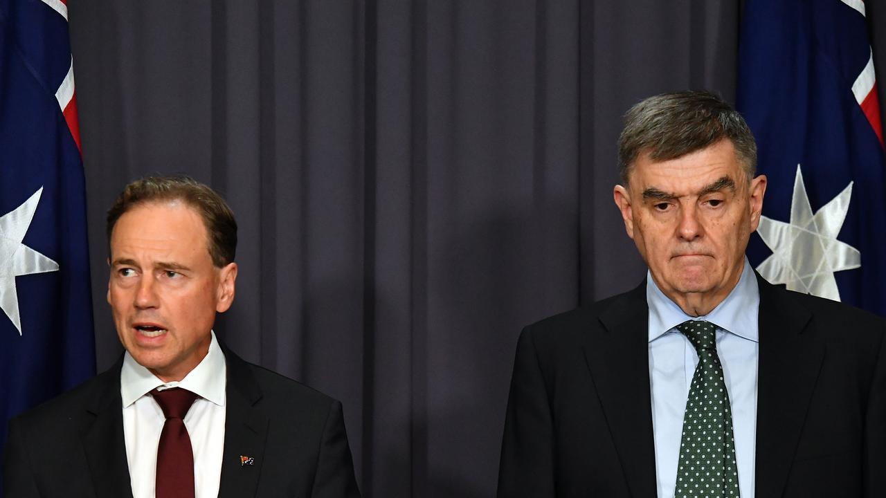 Health Minister Greg Hunt and Chief Medical Officer Professor Brendan Murphy speaking on the coronavirus. Picture: AAP Image/Mick Tsikas