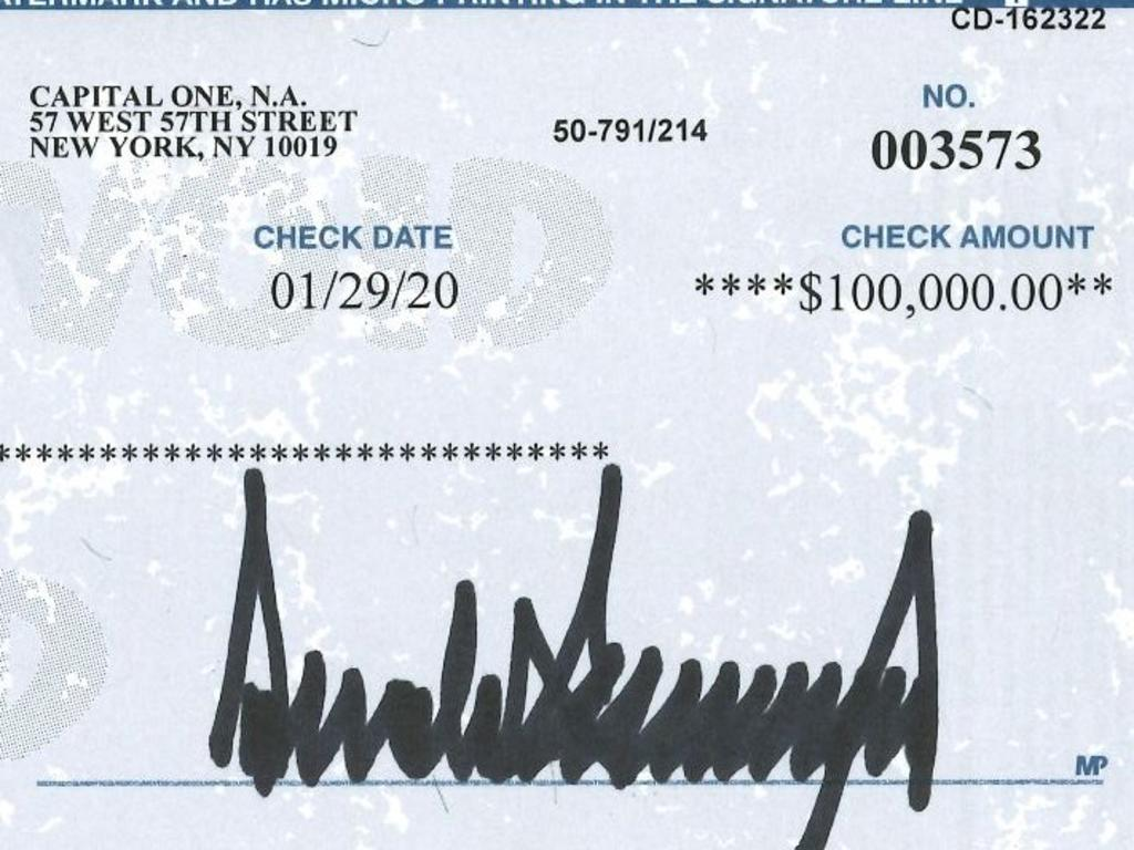 White House press secretary Stephanie Grisham shared this image of Donald Trump's donation.