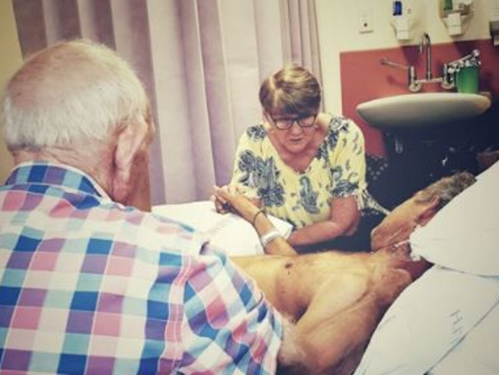 Parents Bob and Narelle at Peter's bedside. Picture: Facebook