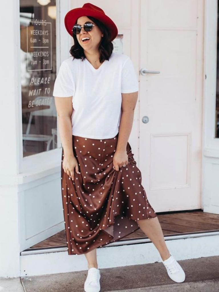 Rachel, who blogs under the champagnesilvousplait, showed how well the skirt worked with trainers and a white tee. Picture: Instagram/champagnesilvousplait