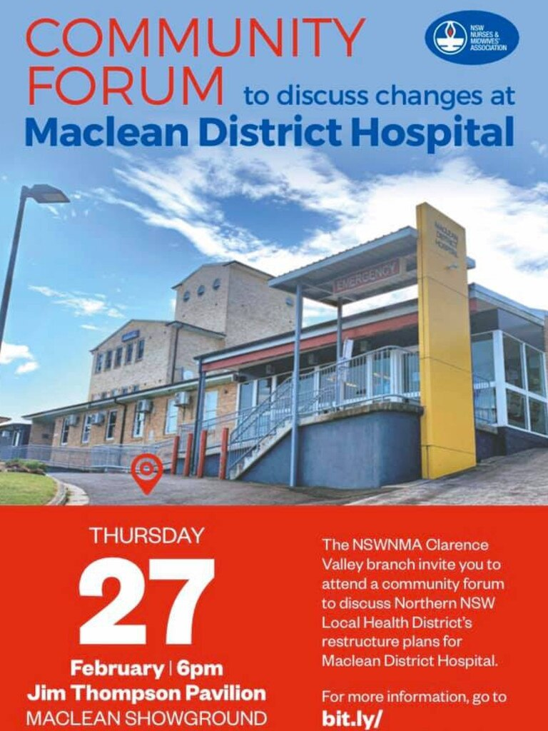 A flyer for the NSW Nurses & Midwives Association community consultation over changes to Maclean Hospital.