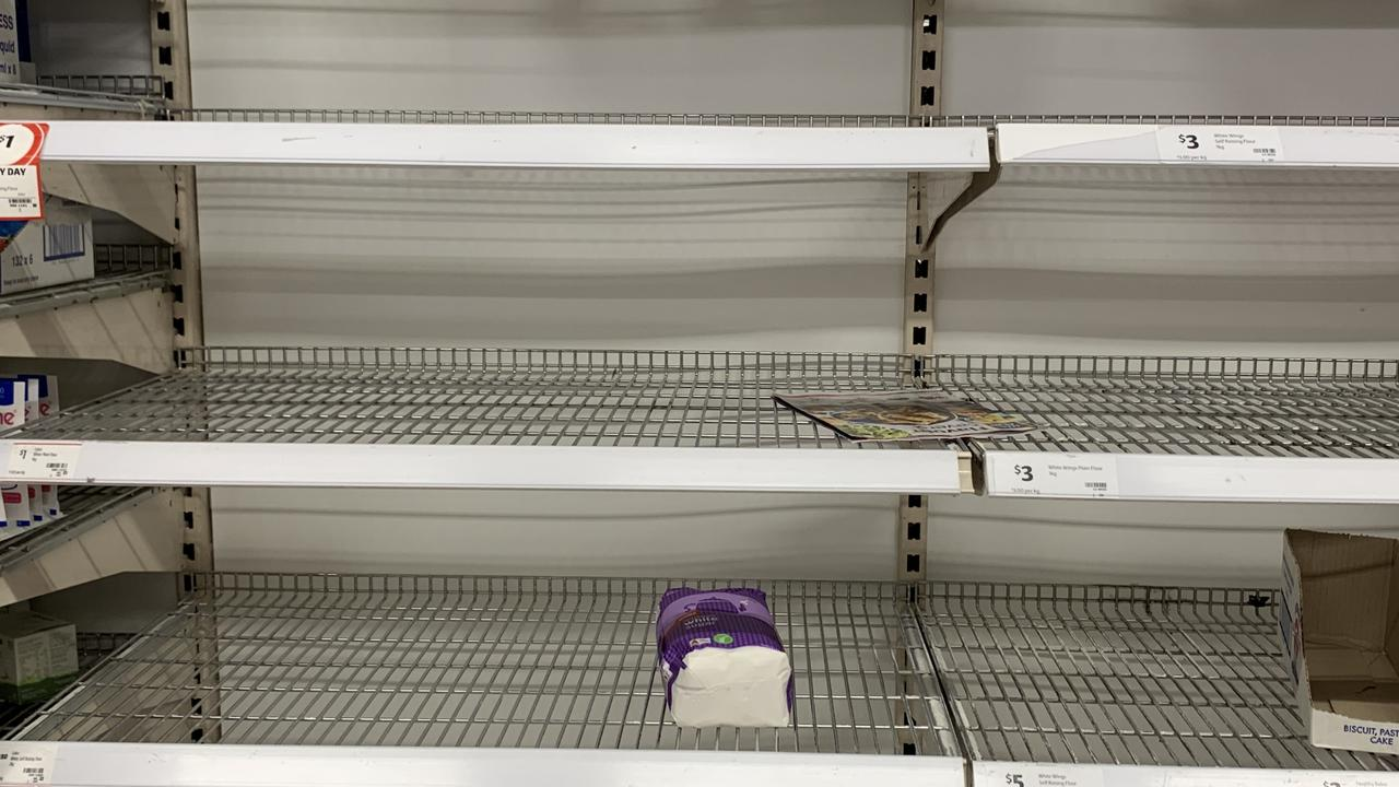 The depleted state of the flour and sugar shelf at Coles Chatswood, in Sydney's north.