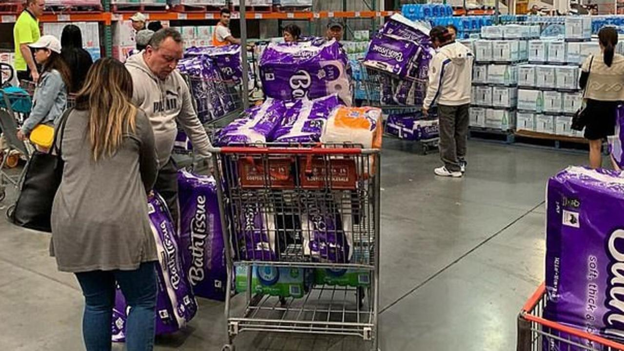 Scenes from Costco Casula of people panic buying toilet paper due to coronavirus pandemic fears.
