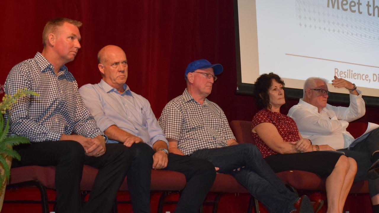 Shane Waldock, Mal gear, Michiel Pratt, Colleen Miller and Terry McMullan under the microscope at council election forum