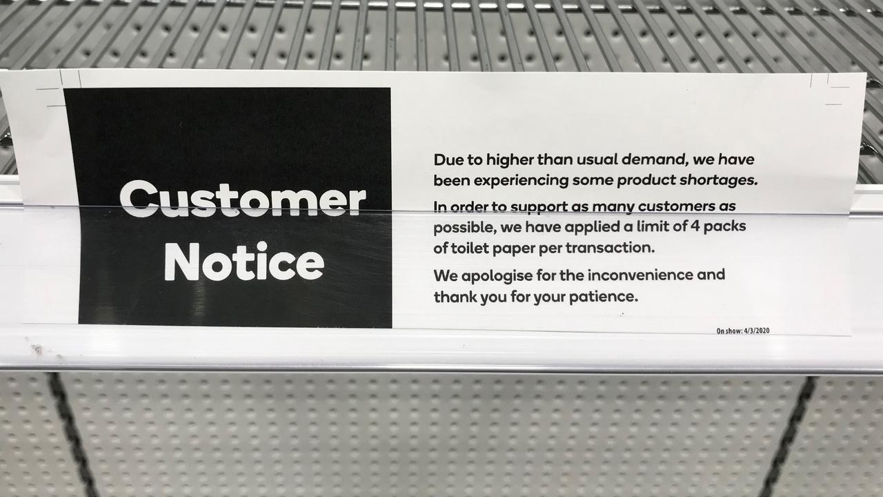 There were no toilet rolls in sight, but this customer notice is on display at Woolworths in Byron Bay. A similar sign is at the nearby Aldi.