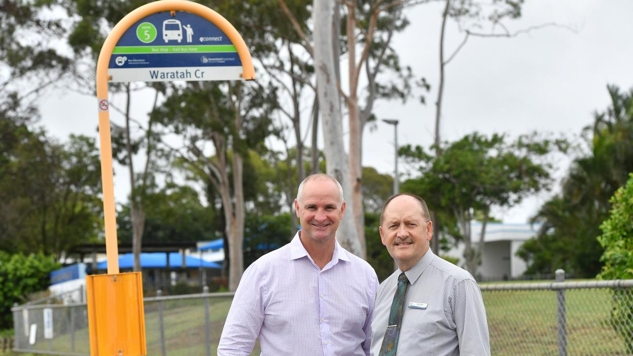 Member for Gladstone Glenn butcher and Tannum Sands principal John Aide Tannum Sands Primary school have received a $589,000 grant to install a new bus set down area.