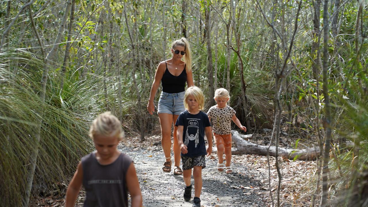 Bec Lorrimer bushwalking at Cape Hillsborough with her children Jack Lorrimer, 7, front, Billy Lorrimer, 6, and Charli Lorrimer, 4.