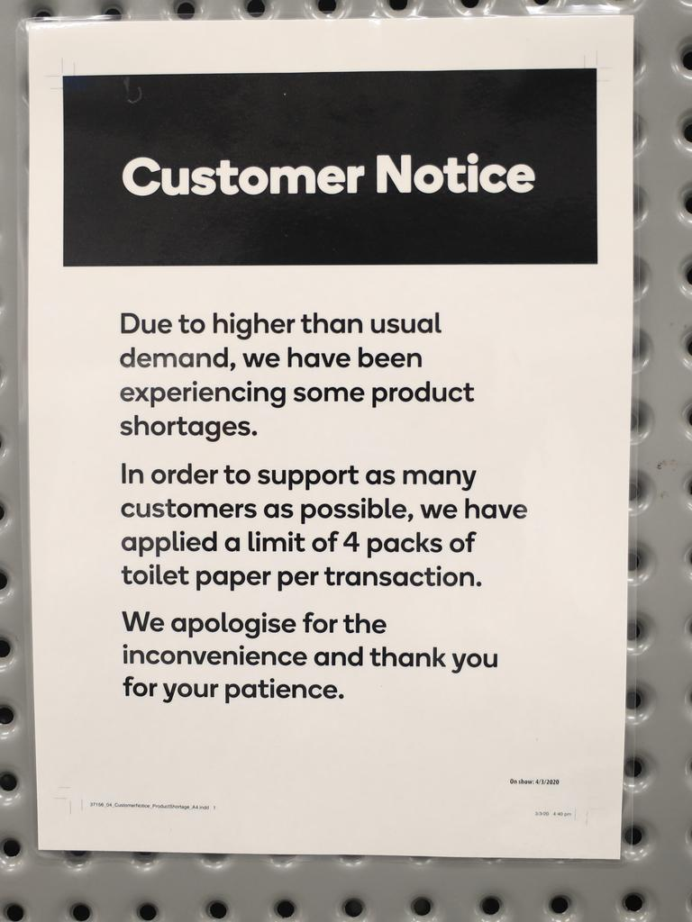 A notice at Woolworths Town Hall. Picture: Christian Gilles