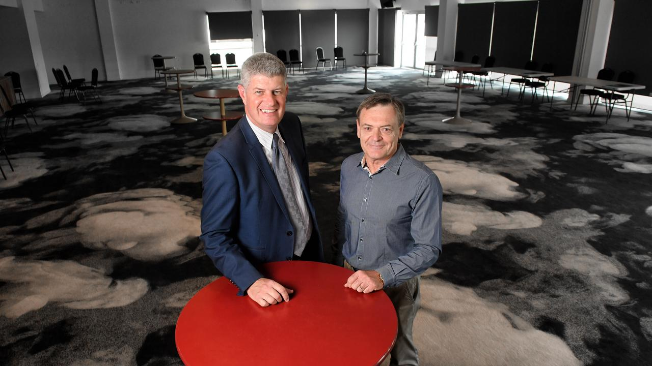 Minister for Racing Stirling Hinchliffe with Ipswich Turf Club general manager Brett Kitching in the Grange Lounge at the Ipswich Turf Club.