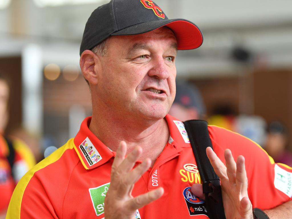 Gold Coast Suns AFLW coach David Lake at Mackay Airport this afternoon. Picture: Tony Martin