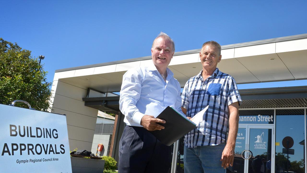 Project developer Wayne Hoskin with builder Barry Harrison in 2017.