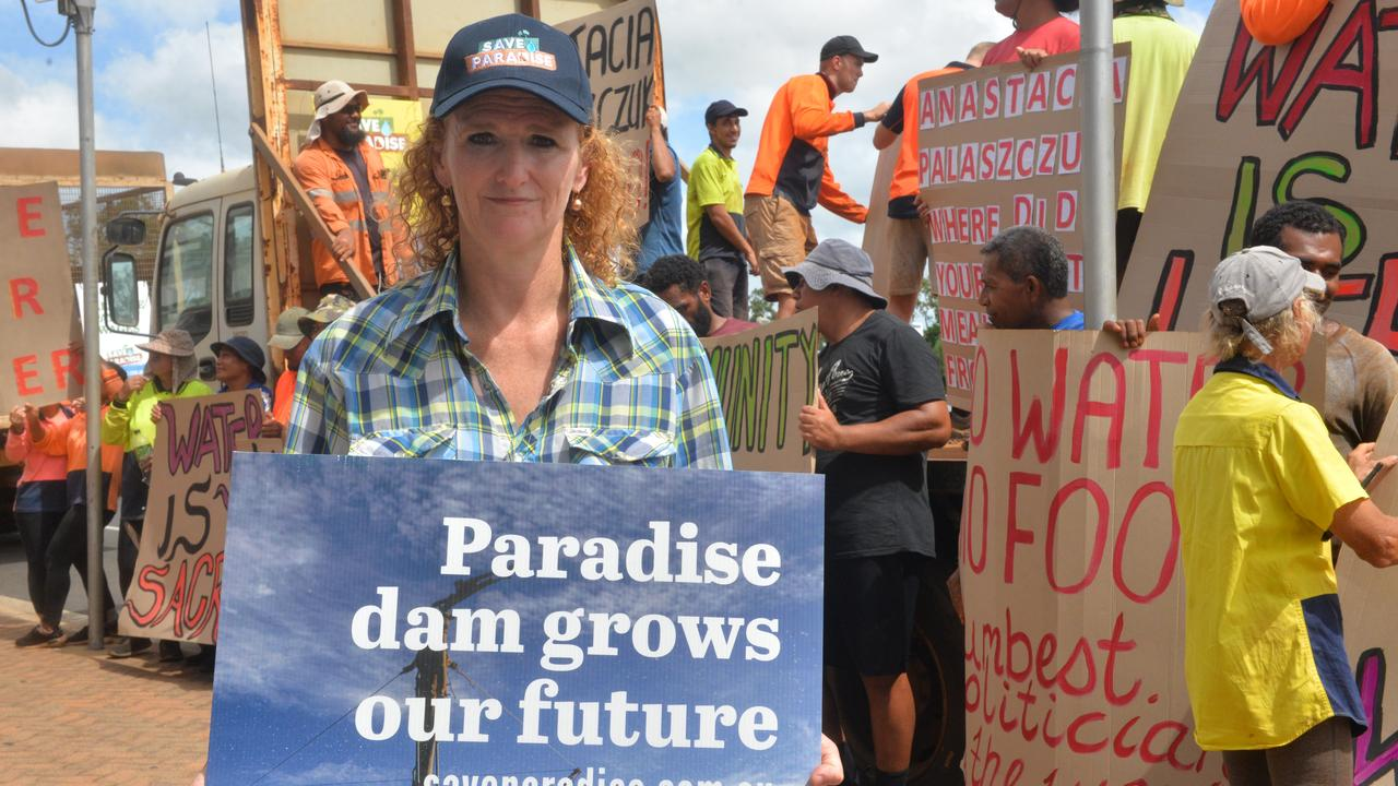 WANT TO BE HEARD: Judy Plath at the Paradise Dam protest outside the Bundaberg Courthouse.