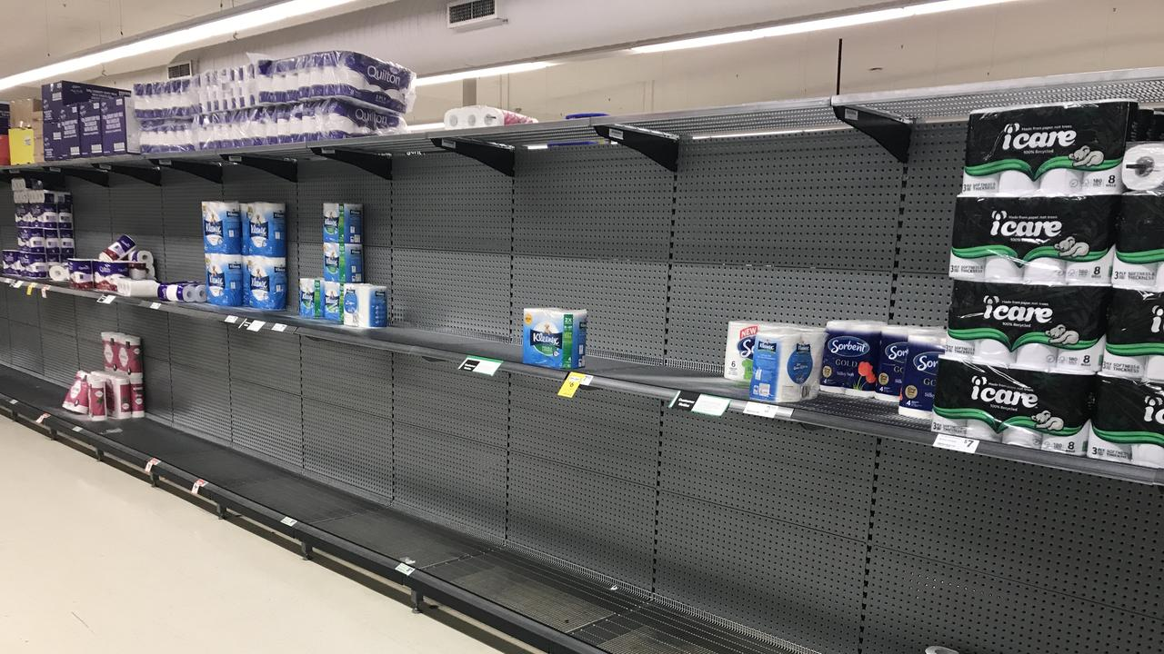 Toilet paper stocks at Woolworths in Allenstown