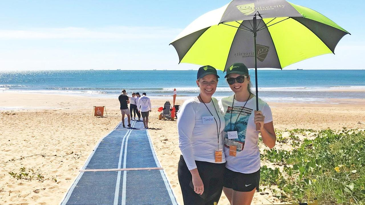 CQUniversity Physiotherapy lecturer Sasha Job (left), pictured with current third-year Physiotherapy student Rebecca Hartnett, is excited about the U-Beach project which aims to make Bundaberg beaches accessible for all.