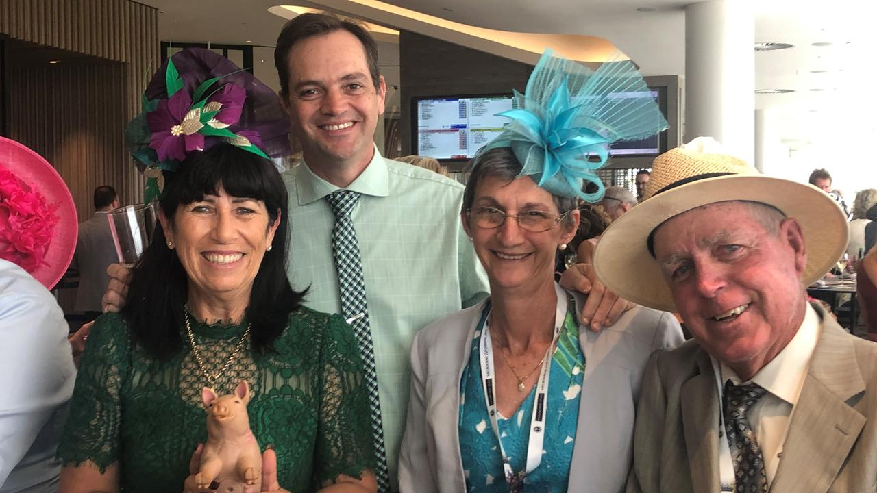 CHEER SQUAD: Dan and Rae Fletcher with Bruce and Trudy Roberts at Flemington to cheer on Russian Camelot.