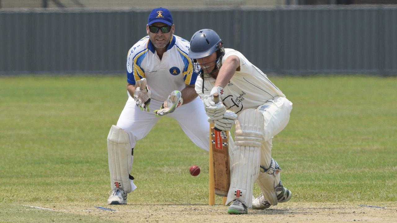 Captain Ben McMahon in action between Sawtell and Harwood in their top of the table North Coast Cricket Council Premier League clash.