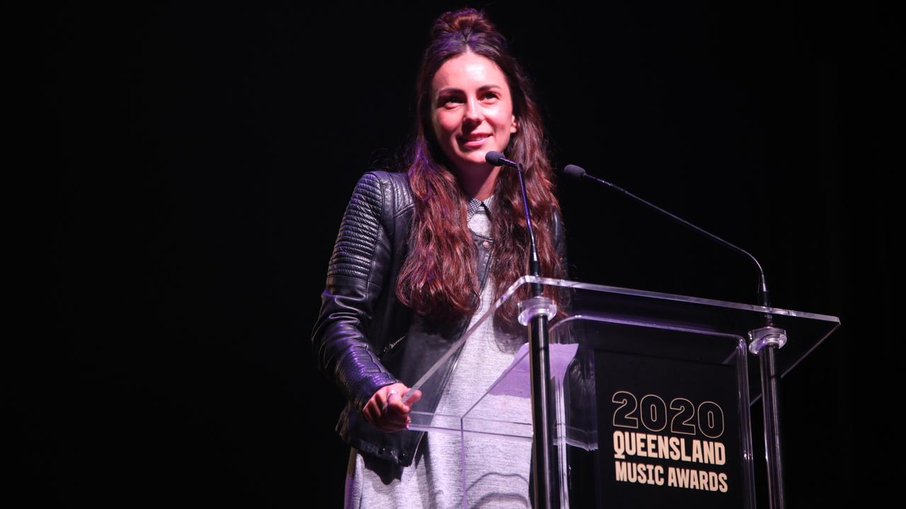 Amy Shark spoke about the significance of winning a QMA on stage. Picture: Bianca Holderness