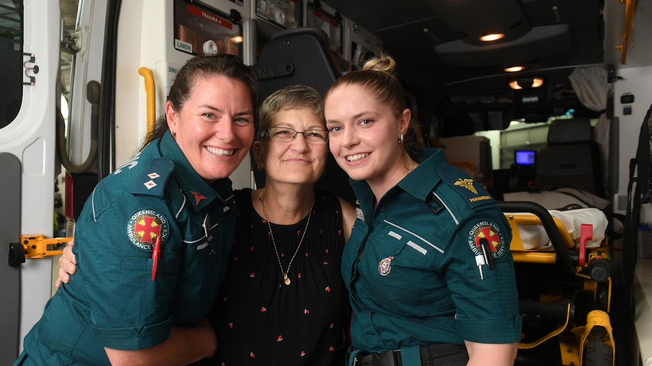 Paramedic Angela Perry (left) and critical care paramedic Amy Gomes reunited with patient Sherie Oakley ten years after they saved her life.