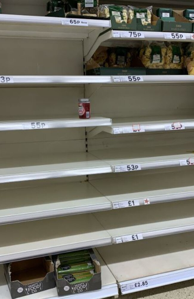Pasta supplies in one Tesco were almost decimated by panicked shoppers. Picture: Twitter.