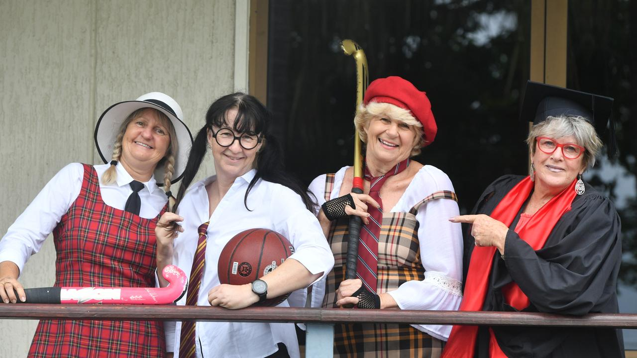 SCHOOL'S IN: Nancy Jensen, Melanie Achilles, Judy Hughes and Brenda Smith in their costumes for the upcoming school girl themed Girls Night Out fundraiser.