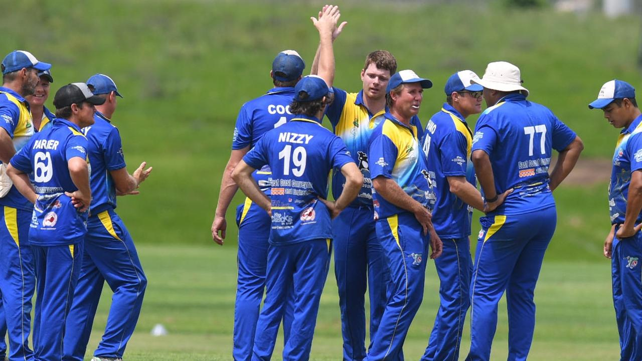 Kenilworth celebrate a wicket against the Colts. Picture: Shane Zahner