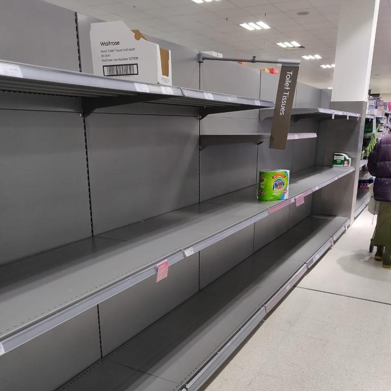 Like Australia, UK shoppers have been buying up big on toilet paper as this empty shelf in supermarket Waitrose shows. Picture: Twitter