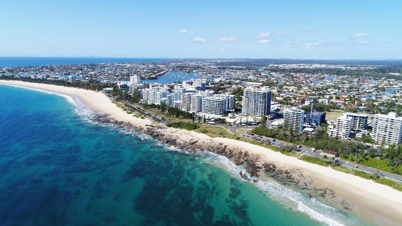 Aerial photo of Mooloolaba, Alexandra Headland, Sunshine Coast.