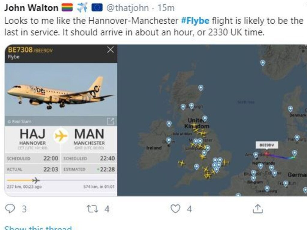 One social media user highlighted that the last FlyBe plane could land at around 11.30pm this evening.