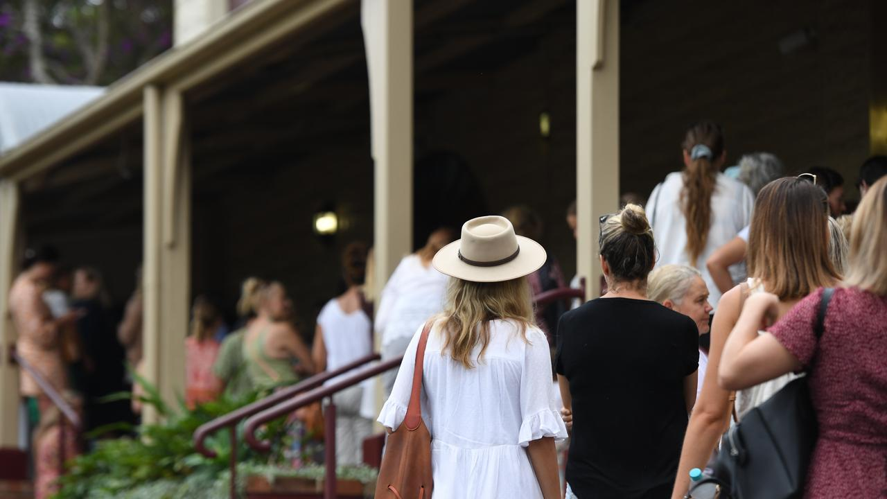 Eager fans line up to get a piece of the action at the Spell Warehouse sale in Bangalow.