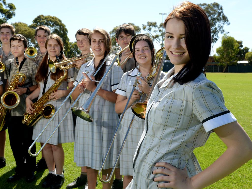 The Nazareth School band in 2014 with Sabrina Lekaj, 16, in foreground. Picture. Noelle Bobrige
