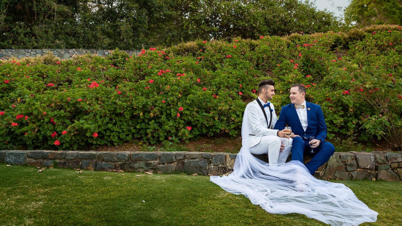 Newlyweds: Jayden Brown (left) and Jay Bingle enjoy an intimate moment, Sunshine Coast Wedding Photographer Ben Connolly