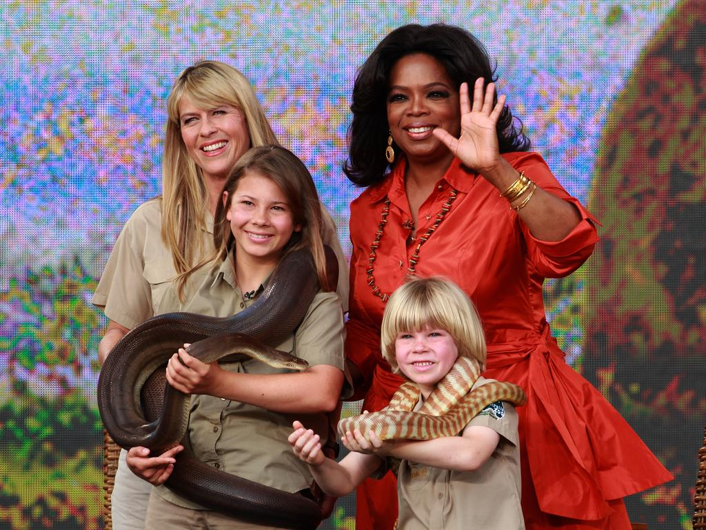 The Irwins during the recording of the first Australian Oprah Show at Sydney Opera House.