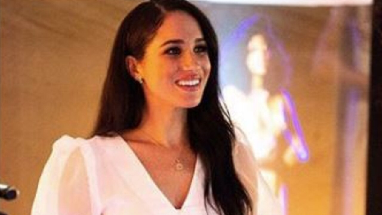 Meghan Markle dazzled in an inexpensive blouse from Top Shop as she went about the last of her patron duties in London. Picture: Instagram/Sussex Royal