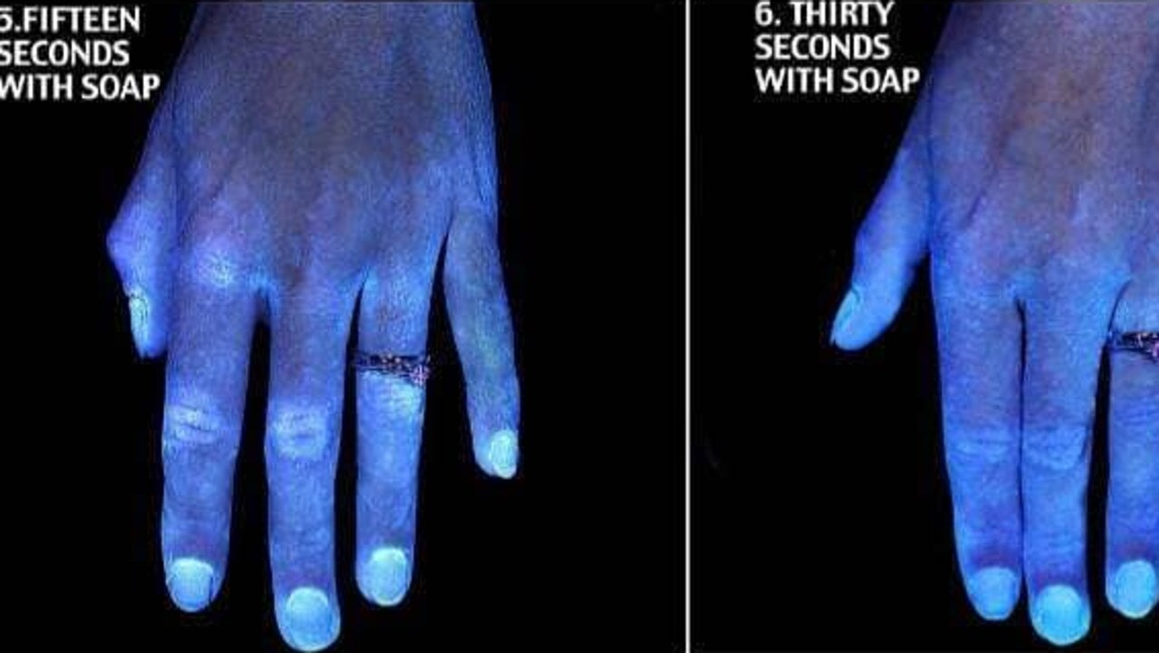 Incredible photos have reveal how much difference it can make when you wash your hands for a full 30 seconds. Picture: Instagram/Kristen Bell