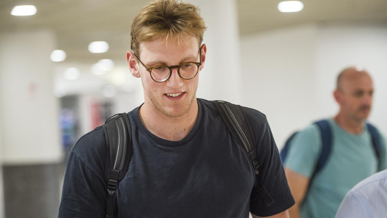 Mack Horton Arrives in Melbourne. Picture: Rob Leeson.