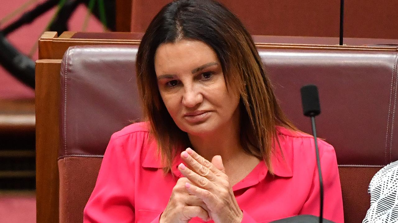 Senator Jacqui Lambie in the Senate chamber at Parliament House in Canberra.