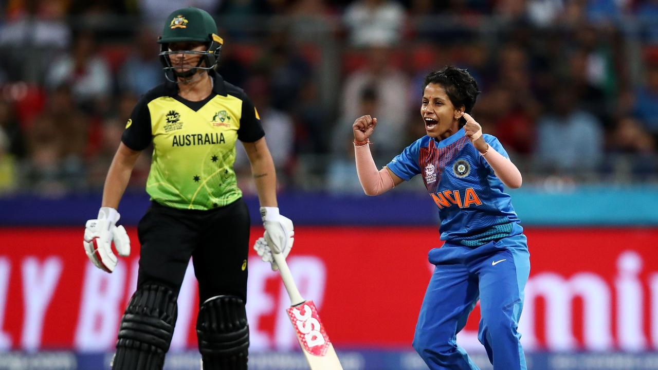 Poonam Yadav bowled Australia out of the opening match of the tournament. Picture: Cameron Spencer/Getty