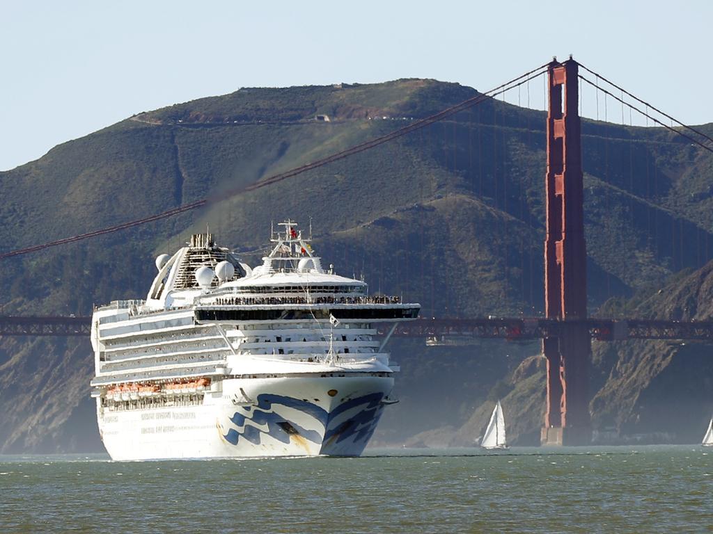 The Grand Princess cruise ship was quarantined off the California coast. Picture: Scott Strazzante/San Francisco Chronicle via AP