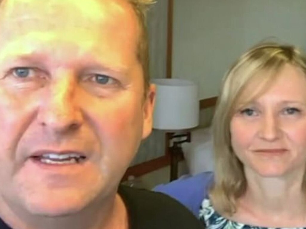Neil and Lisa Egan are stranded on the Grand Princess cruise ship. Picture: ITV