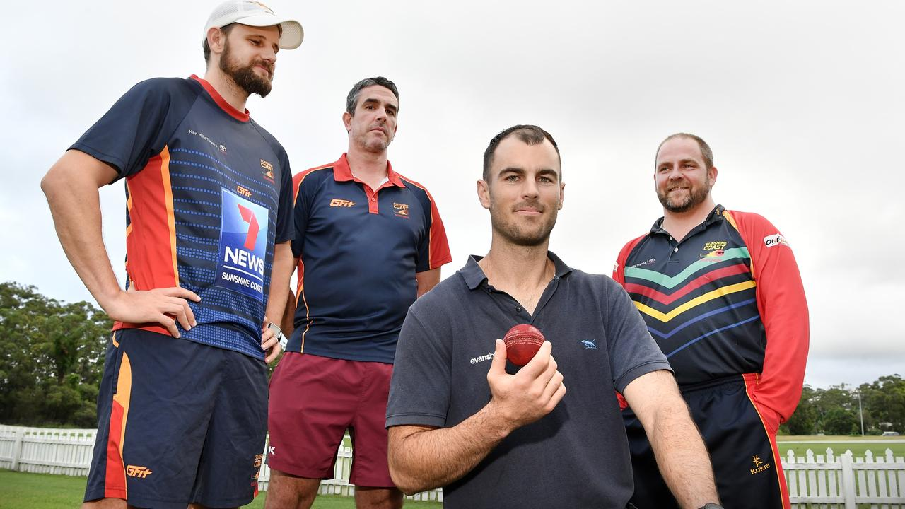 Reunited with QAS and teammates who saved Alecz Day's life after he collapsed from a cardiac arrest. Alecz is pictured with teammates, John Turnbull, Ash Renouf and coach Ash Holznagel. Photo Patrick Woods / Sunshine Coast Daily.