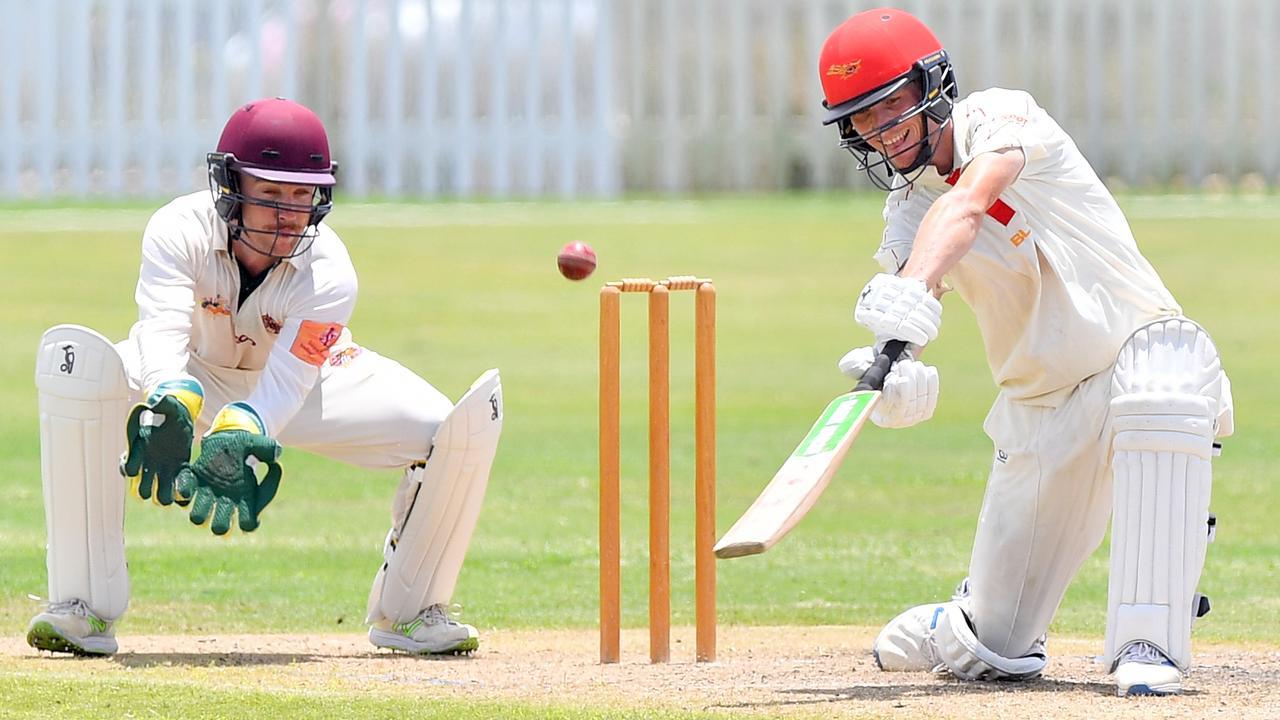 Scorchers Nick Selman hits an ungainly boundary during the 2019/20 season. Photo: John McCutcheon / Sunshine Coast Daily