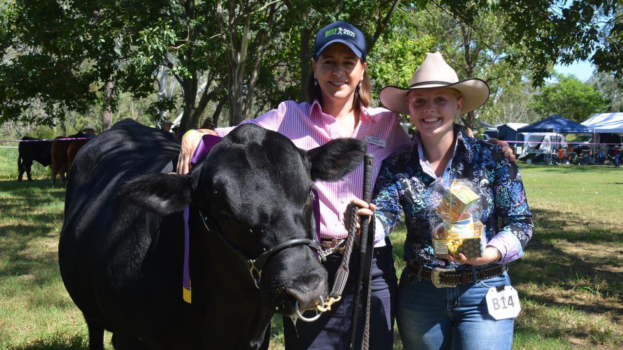 Deb Frecklington with Junior Champion British Bull handler Nateesha Taylor representing Glen Perrett Bowenfells at the Proston Show on March 7, 2020. (Photo: Jessica McGrath)