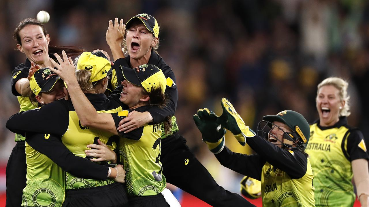 Meg Lanning of Australia celebrates victory during the ICC Women's T20 Cricket World Cup. Picture: Ryan Pierse/Getty Images
