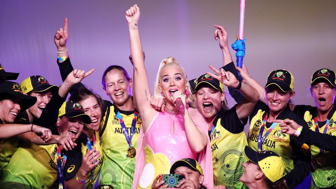 Katy Perry performs on stage with the Australian team after their victory in the ICC Women's T20 Cricket World Cup Final match between India and Australia at the Melbourne Cricket Ground. Picture: Cameron Spencer/Getty Images